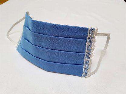 Stoffmaske-blau-mit-Spitze